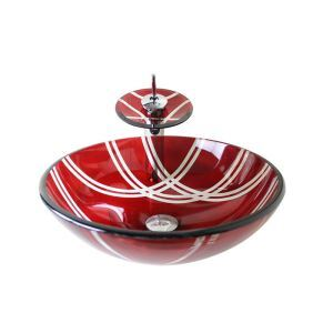 Modern Fashion Round Red Tempered Glass Vessel Sink With Waterfall Faucet Mounting Ring and Water Drain Set