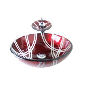 Modern Fashion Round Wine-Red Tempered Glass Vessel Sink With Waterfall Faucet Mounting Ring and Water Drain Set