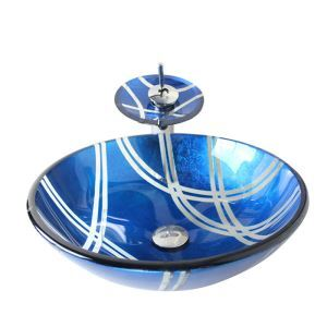 Modern Fashion Round Blue Tempered Glass Vessel Sink With Waterfall Faucet Mounting Ring and Water Drain Set