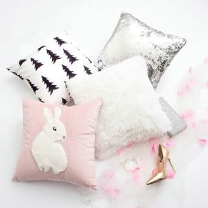 Simple Modern Hairy Rabbit Cushion Pillow Pink Girls Gifts Children Fashion Princess Pillow 4 Pcs