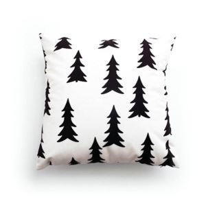 Simple Modern Black And White Tree Pattern Velvet Fabric Children Pillow Cover