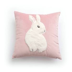 Simple Modern Patch Embroidered Rabbit Velvet Pink Pillow
