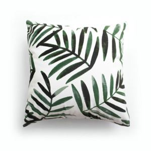 Simple Modern Velvet Green Leaf Pillow Cover