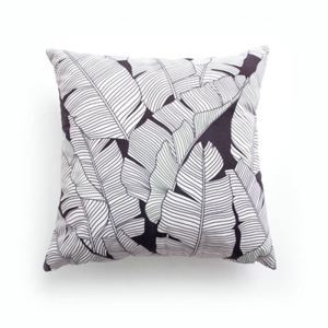 Simple Modern Velvet Black And White Plantain Leaves Pillow Cover