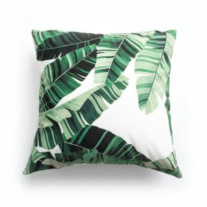 Simple Modern Velvet Green Plantain Leaves Pillow Cover