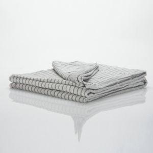Cotton Walnut Wood Stripes Beige Towel Quilt Blanket
