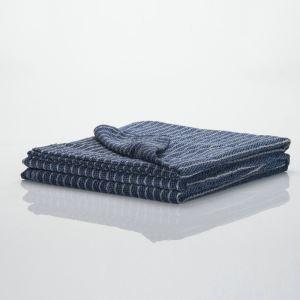 Cotton Walnut Wood Stripes Blue Towel Quilt Blanket