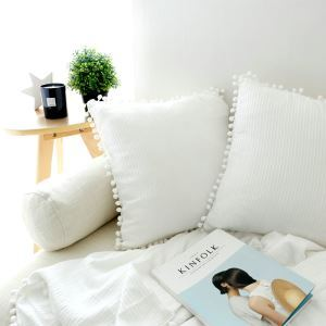 American Village Cotton Plush Ball Decorated Edge White Pillow Cover