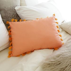 American Village Tassel Orange Lumbar Pillow