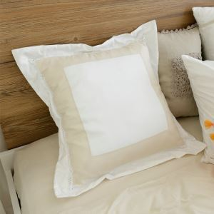 American Village Stitching Embroidery Beige Pillow Cover 50*50cm
