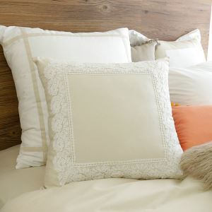 American Village Press Lace Stitching Beige Pillow 45*45cm