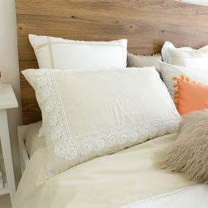 American Village Press Lace Stitching Beige Bedding Pillow 48*74cm