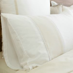 Simple Beige Stitching Embroidery Pillowcase 48x74cm(One Piece)