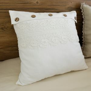 American Village Press Lace Stitching Beige Washing Cotton Pillow Cover 45*45cm
