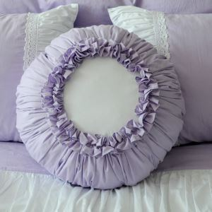 American Village Pure Cotton Round Creative Pillow Cover Purple Pumpkin Pillow Cover