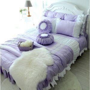 American Village Pure Cotton Princess Style Purple 4 Pieces Suit