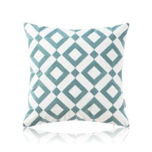 Nordic Modern Stereo Embroidery Square Block Pattern Water Blue Pillow Sofa Office Bedroom Pillow