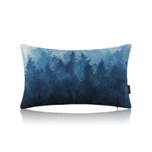 Modern Simple Misty Forest Blue Cotton Linen Lumbar Pillow Sofa Pillow Office Pillow