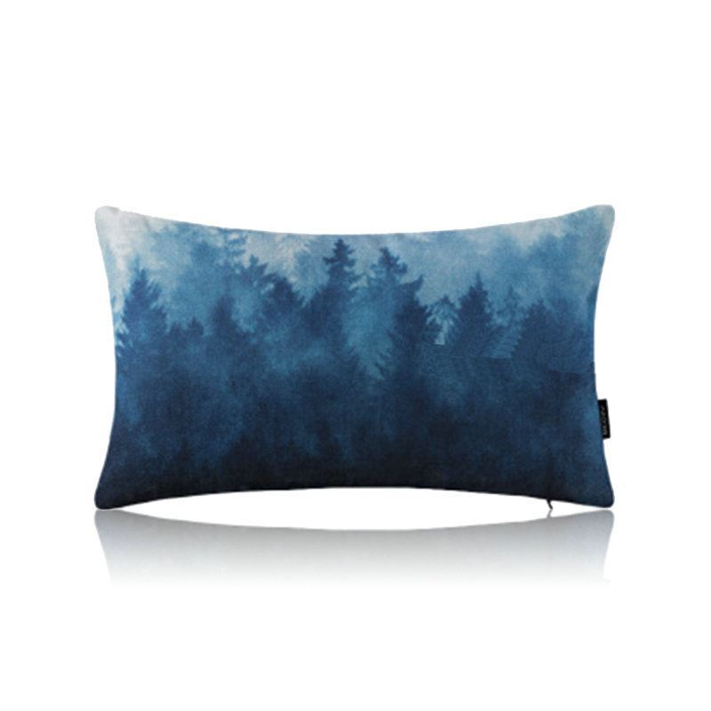 Incredible Home Textiles Throws Pillows Cotton Linen Pillows Modern Simple Misty Forest Blue Cotton Linen Lumbar Pillow Cover Sofa Pillow Cover Office Evergreenethics Interior Chair Design Evergreenethicsorg