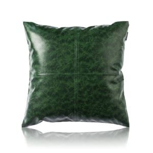 Modern Simple Green Crazy Horse Leather Cushion PU Faux Leather Sofa Pillow Cover Car Office Lumbar Pillow Cover