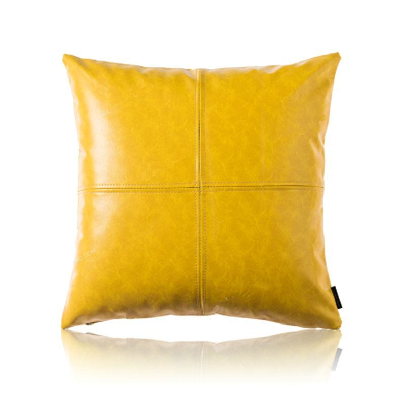 Cushioned Yellow Leather Sofa 3d: Throws & Pillows