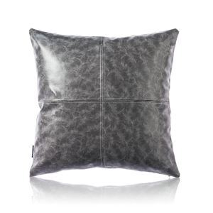 Modern Simple Grey Crazy Horse Leather Cushion PU Faux Leather Sofa Pillow Car Office Lumbar Pillow