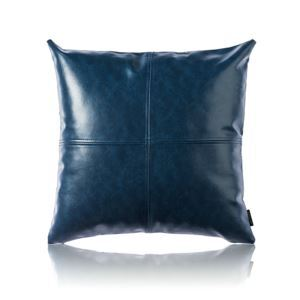 Modern Simple Blue Crazy Horse Leather Cushion PU Faux Leather Sofa Pillow Cover Car Office Lumbar Pillow Cover