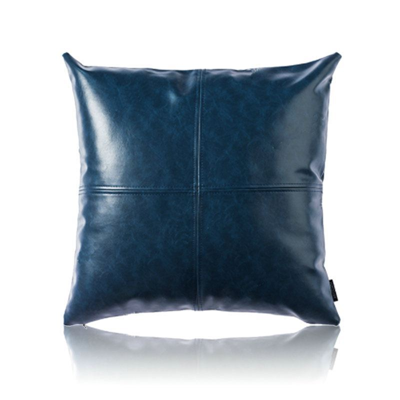 Home Textiles Throws Amp Pillows Pu Pillows Modern Simple Blue Crazy Horse Leather Cushion Pu Faux Leather Sofa Pillow Cover Car Office Lumbar