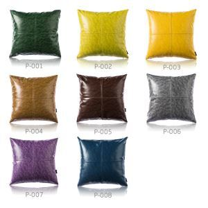 Modern Simple Crazy Horse Leather Cushion PU Faux Leather Sofa Pillow Car Office Lumbar Pillow 8 Colors 50*50CM