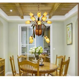 European Style Retro Iron Gold Tulip Glaze Shade 25 Lights LED Chandeliers Energy Saving