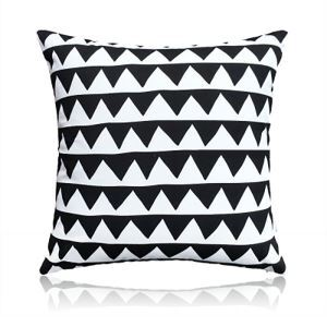 Nordic Modern Super Soft Velvet Triangular Wave Black And White Pattern Pillow Cover Sofa Cushions Cover