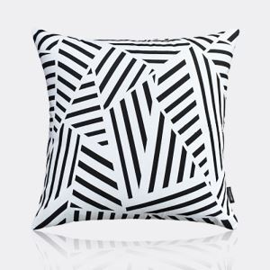 Nordic Modern Super Soft Velvet Geometric Black And White Pattern Pillow Cover Sofa Cushions Cover