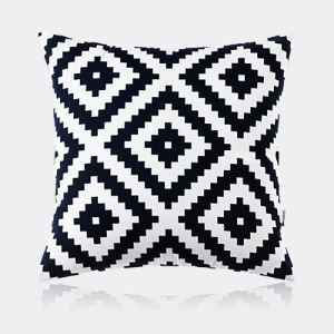 Nordic Modern Pillow Case Super Soft Velvet Geometric Black And White Pattern Pillow Cover Sofa Cushions Cover
