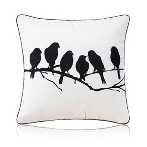 Nordic Modern Super Soft Velvet Black And White Bird Pattern Pillow Cover Sofa Cushions Cover