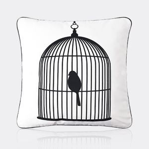 Nordic Modern Super Soft Velvet Black And White Birdcage Pattern Pillow Cover Sofa Cushions Cover