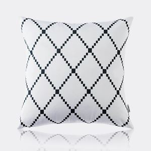 Nordic Modern Super Soft Velvet Black And White Diamond Grid Pattern Pillow Cover Sofa Cushions Cover