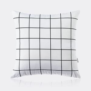 Nordic Modern Super Soft Velvet Black And White Square Grid Pattern Pillow Cover Sofa Cushions Cover