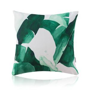 American Pastoral Simple Cotton Linen Plants Watercolor Printing Sofa Pillow Cover Plantain Leaves Pattern Cushions Cover
