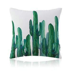 American Pastoral Simple Cotton Linen Plants Watercolor Printing Sofa Pillow Opuntia Pattern Cushions