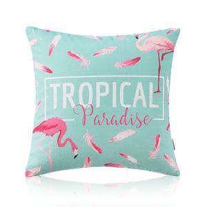 American Pastoral Simple Cotton Linen Tropical Rain Forest Series Printing Sofa Pillow TROPIC Letter Pattern Cushions