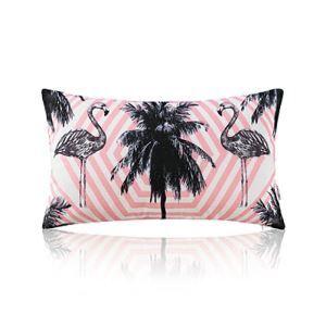 American Pastoral Simple Cotton Linen Tropical Rain Forest Series Printing Sofa Pillow Flamingo Pattern Lumbar Pillow