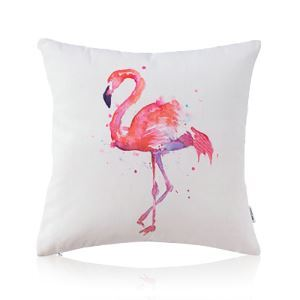 American Pastoral Simple Cotton Linen Tropical Rain Forest Series Printing Sofa Pillow Cover Flamingo Pattern Pillow Cover