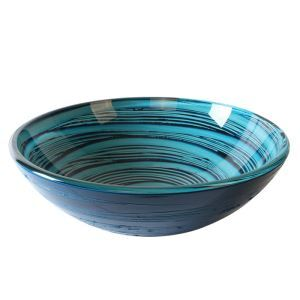 Modern Fashion Round Blue Swirl Pattern Tempered Glass Basin(Faucet Not Included)