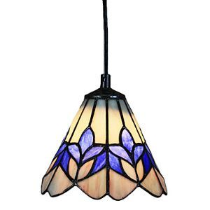 60W Glass Tiffany Pendant Light in Purple Flower Pattern