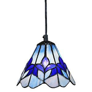 60W Glass Tiffany Pendant Light with 1 Light Purple Flower Pattern