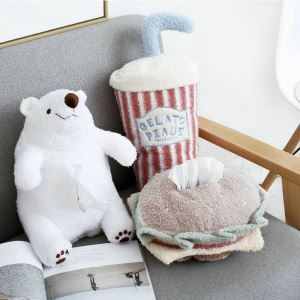 Snack Series Plush Pillow Burger Paper Towel Sleeve Pillow