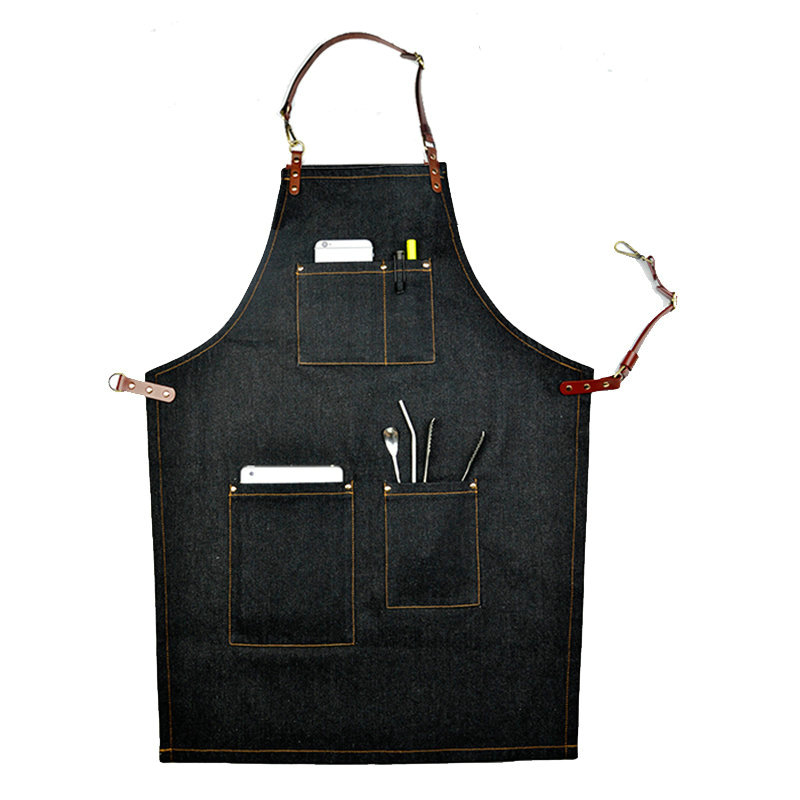 Clearance Denim Leather Work Aprons Barista Aprons