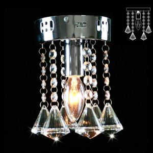 Mini Modern Chrome Plating Crystal Flush Mount K9 Crystal Single Layer Diamond Shape Crystal