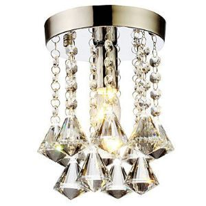 Mini Modern Chrome Plating Crystal Flush Mount K9 Crystal Double Layer Diamond Shape Crystal