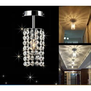 Mini Modern Chrome Plating Crystal Flush Mount